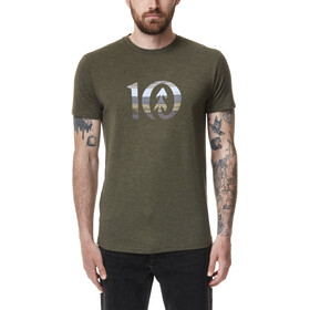 tentree Spruce Stripe Ten T-Shirt Men olive night green heather